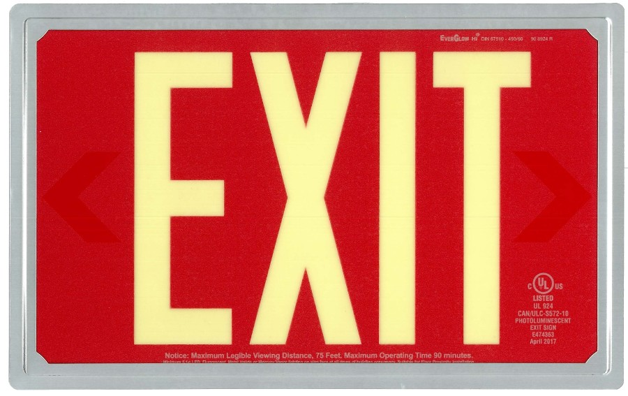 EverGlow NA, Inc  - Exit Signs: Red Exit Sign with ELP Frame